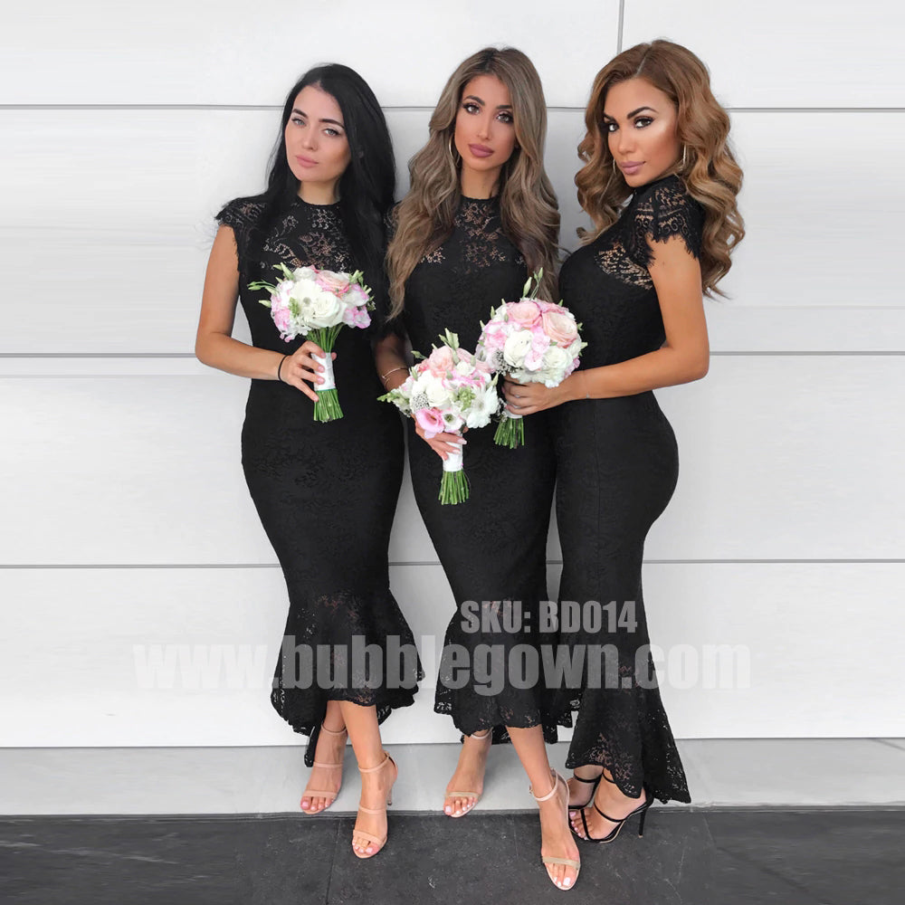 Black Lace Mermaid Hi-lo Ankle Length Cheap Cap Sleeve Bridesmaid Dresses, BD014