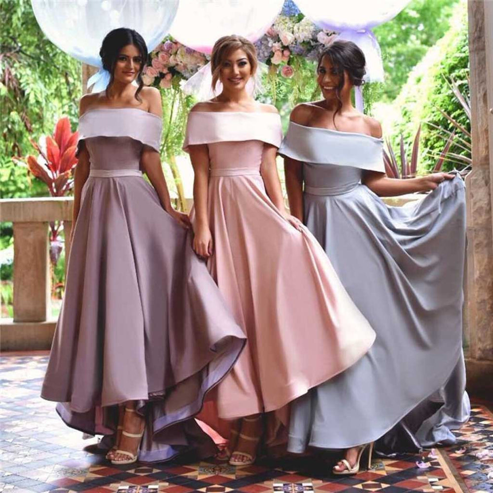 Young Girls Straight Neck Off Shoulder Long Bridesmaid Dresses, BG51360