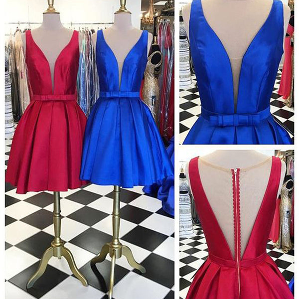 Deep V Neck Seen Through Back Red Blue Simple Homecoming Dresses, BG51482 - Bubble Gown