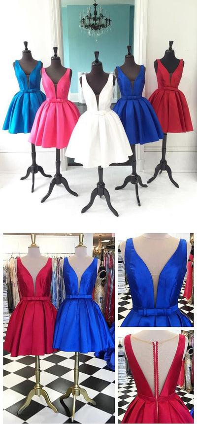 Deep V Neck Seen Through Back Red Blue Simple Homecoming Dresses, BG51482