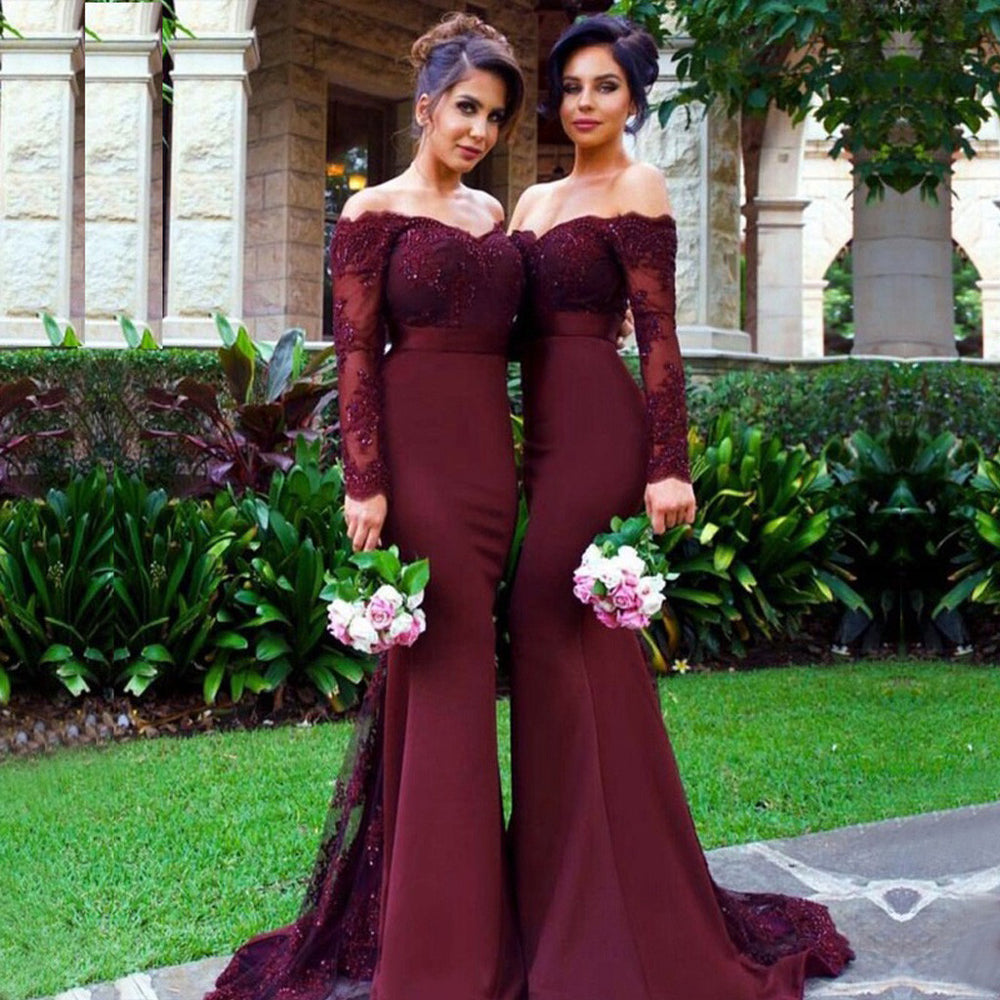 Burgundy Mermaid Long Sleeve Lace Top Long Bridesmaid Dresse, BG51368
