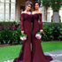 Burgundy Mermaid Long Sleeve Lace Top Long Bridesmaid Dresse, BG51368 - Bubble Gown