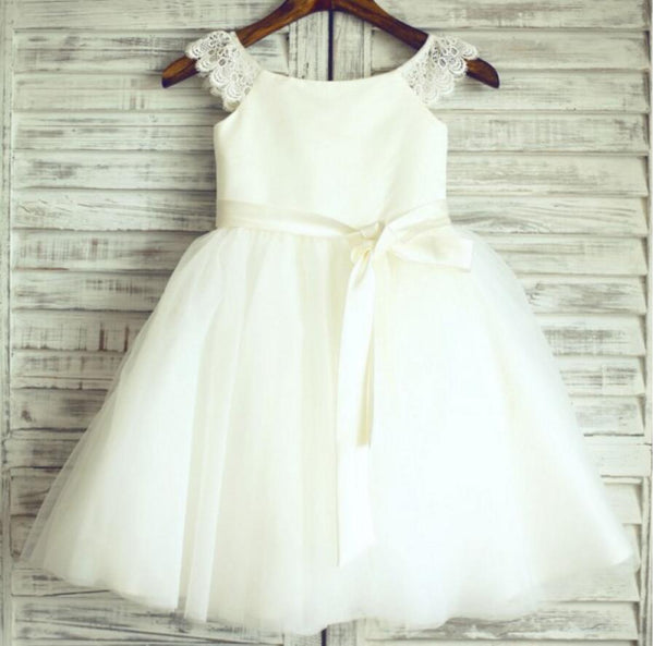 Ivory Lovely Tulle Cheap Flower Girl Dresses, Weding Little Girl Dresses, FGS015