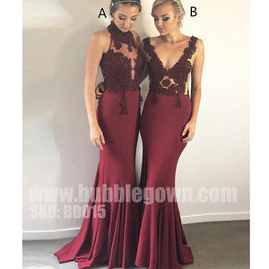 Mermaid Burgundy Mismatched Sexy Lace Inexpensive Long Bridesmaid Dresses, BD015