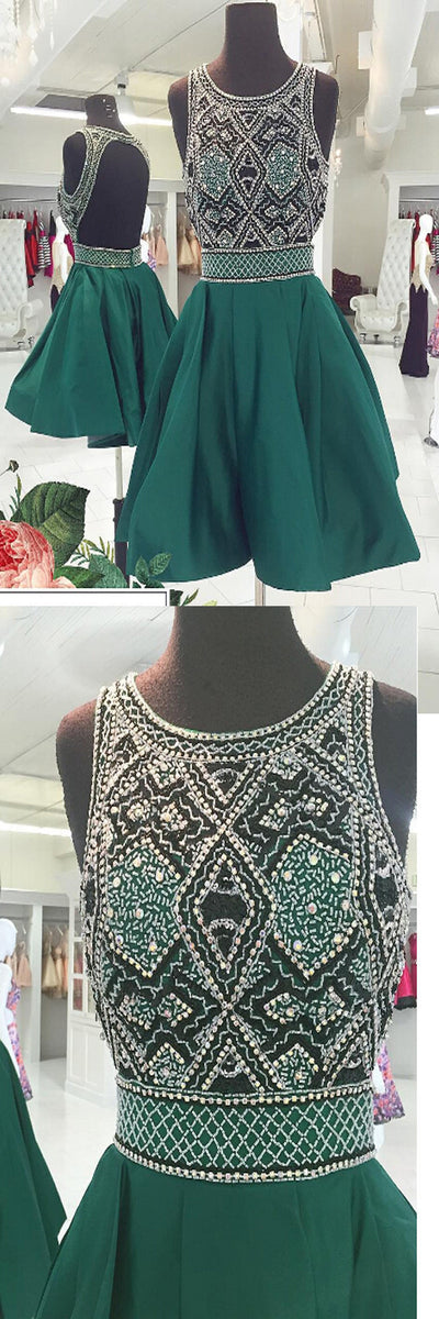 Unique Green Open Back Cheap Short Homecoming Dresses, BG51485