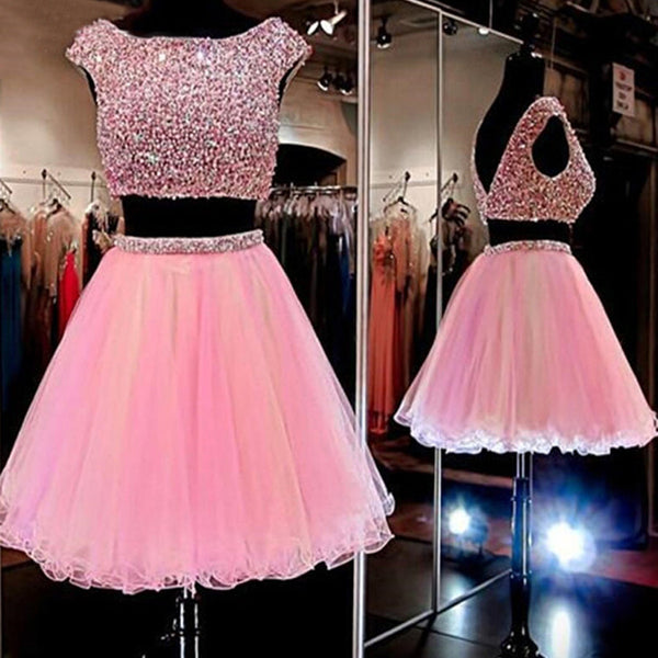 Pink Beaded Two Pieces Sparkly Graduation Homecoming Dresses, BG51487
