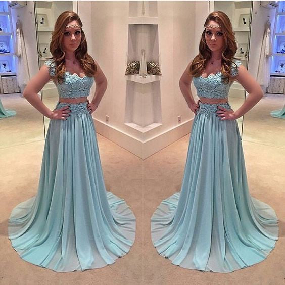 2 Pieces Lace Blue Beautiful Junior Long Prom Dresses, BG51479