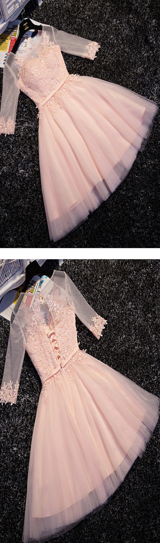 Half Sleeves Lace Applique Popular Pretty Junior Homecoming Dresses, BG51491 - Bubble Gown
