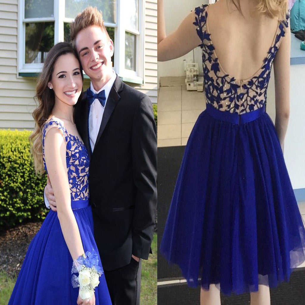 Royal Blue Applique Open Back Short Homecoming Dresses, BG51481