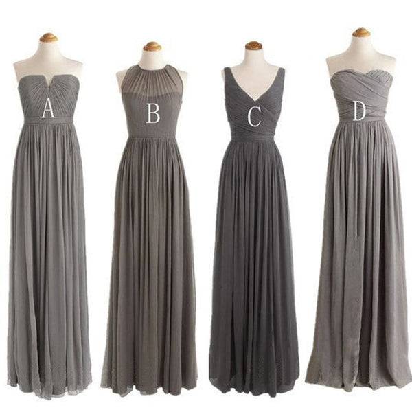 Grey Mismatched Styles Chiffon Formal Long Bridesmaid Dresses, BG51277 - Bubble Gown