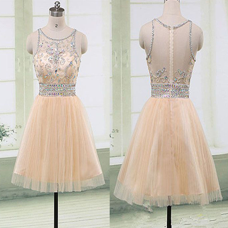 Beaded Seen Through Back Lovely Short Homecoming Dresses, BG51436