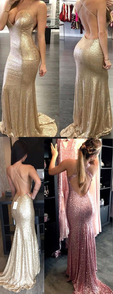 Backless Halter Mermaid Sequin Cheap Long Prom Bridesmaid Dress, BG51367 - Bubble Gown