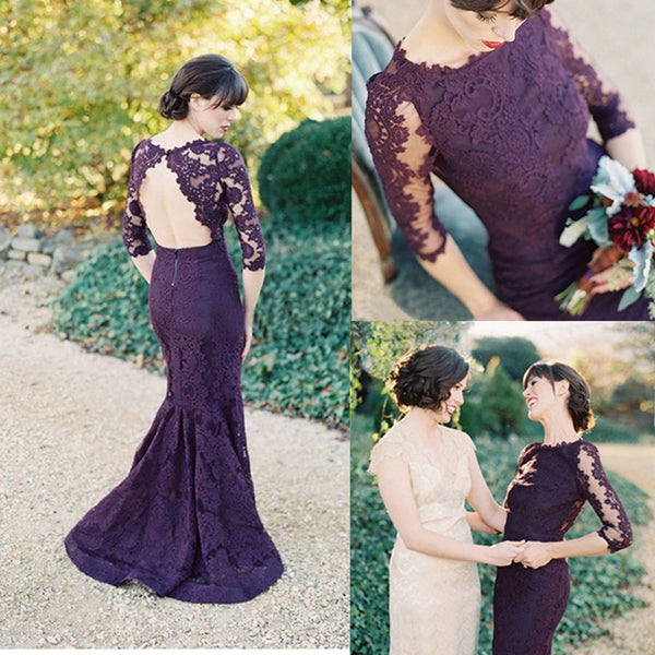 Purple Long Sleeve Open Back Mermaid Prom Long Lace Bridesmaid Dress, BG51304