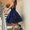 Black Applique Royal Blue Unique Knee Length Cheap Homecoming Dresses, BG51415