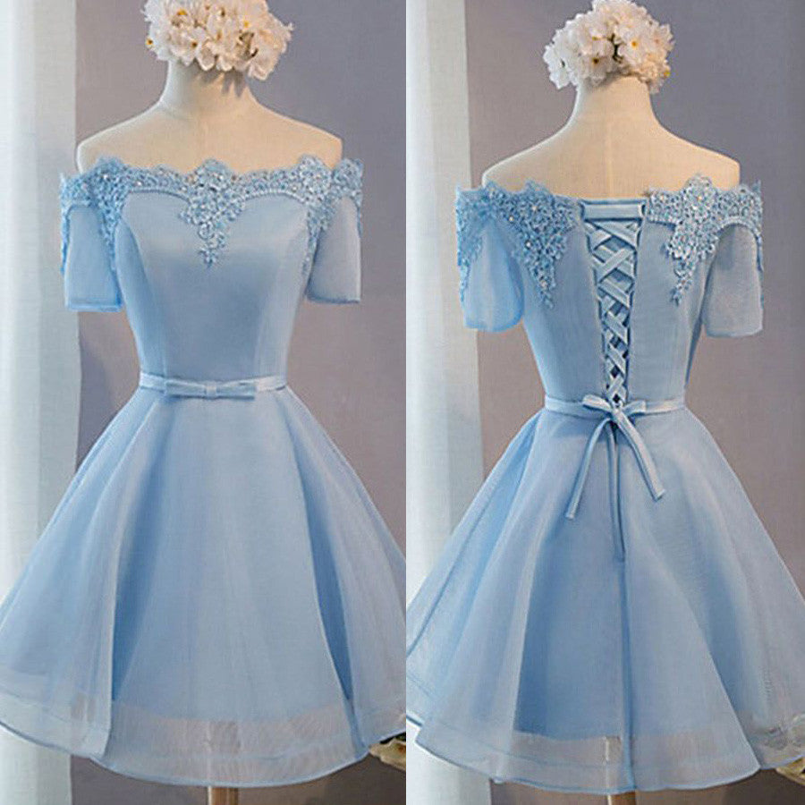 Blue Off Shoulder Half Sleeves Lace Up Cute Homecoming Dresses, BG51446