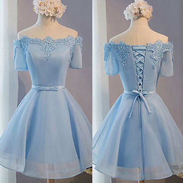 Blue Off Shoulder Half Sleeves Lace Up Cute Homecoming Dresses, BG51446 - Bubble Gown