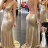 Backless Halter Mermaid Sequin Cheap Long Prom Bridesmaid Dress, BG51367