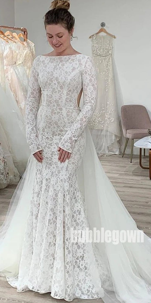 Gorgeous Open Back Long Sleeve Lace Dream Wedding Dresses, BGH042
