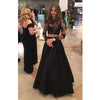 Black Two Pieces Long Sleeves Sexy Long Prom Dress, BG51492