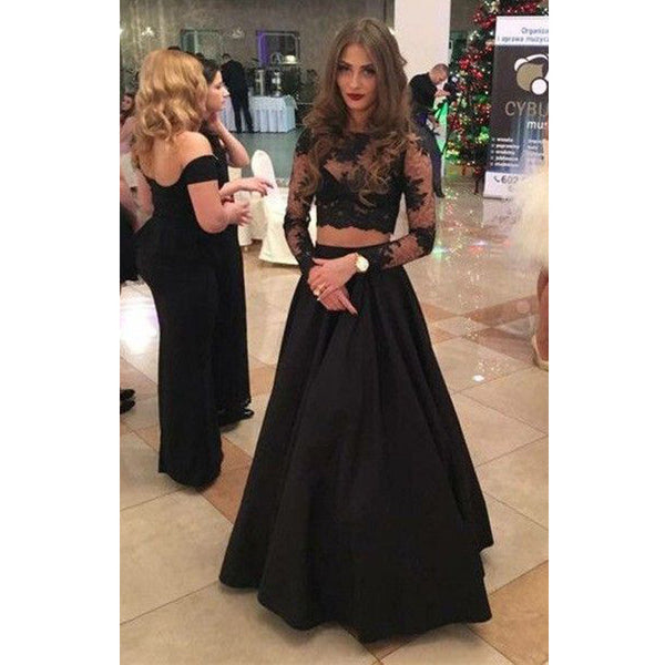 Black Two Pieces Long Sleeves Sexy Long Prom Dress, BG51492 - Bubble Gown