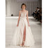 A Line Ivory Side Split Sexy Charming Long Prom Dress, BG51491 - Bubble Gown