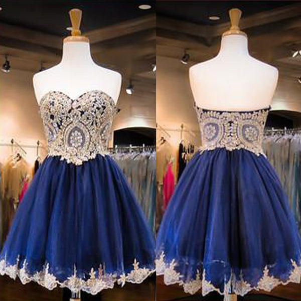 Blue Sweet Heart Lovely Beaded Graduation Homecoming Dresses, BG051476 - Bubble Gown
