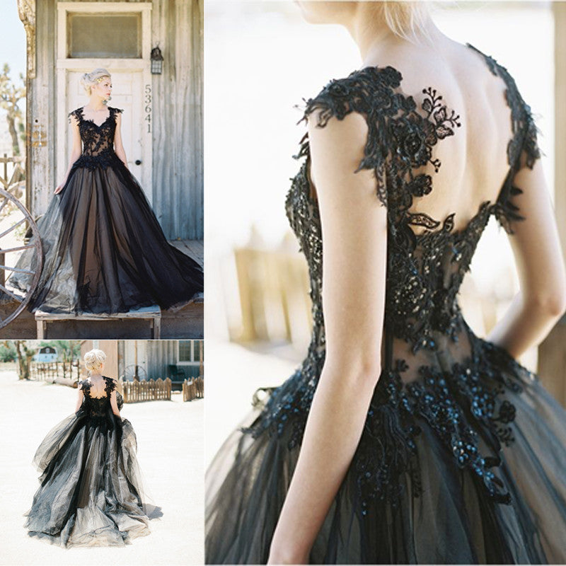 Black Applique Tulle Elegant Cheap Evening Long Prom Dress Ball Gown ...