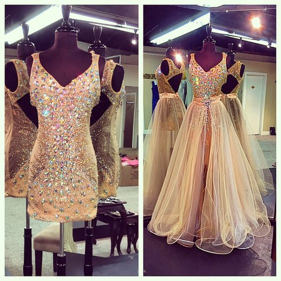 Gold Sparkle 2 Pieces Heavy Beaded Open Back Long Prom Dresses, BG51483 - Bubble Gown