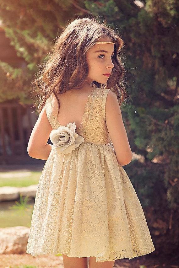 Scoop Neckline Lace A-line V-back Flower Girl Dresses, Lovely Little Girl Dresses, FG064