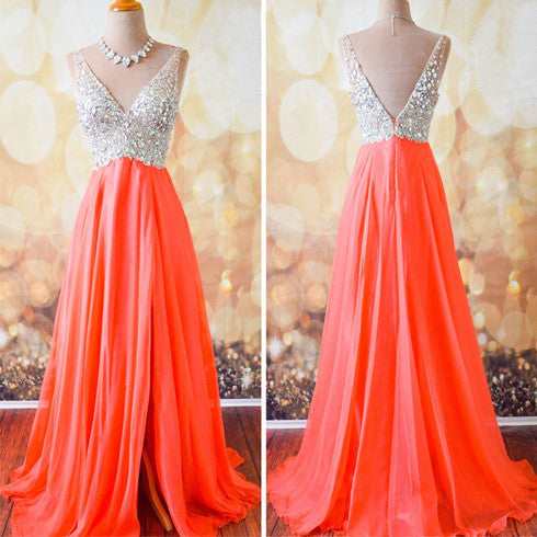 Coral A Line V Neck Side Split Shinning Long Prom Dresses, BG51090