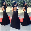Black Sexy Backless Cap Sleeve Mermaid Long Lace Prom Dresses, BG51193