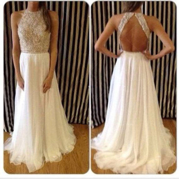 Affordable Ivory Open Back Shinning Long Prom Dresses, BG51165 - Bubble Gown