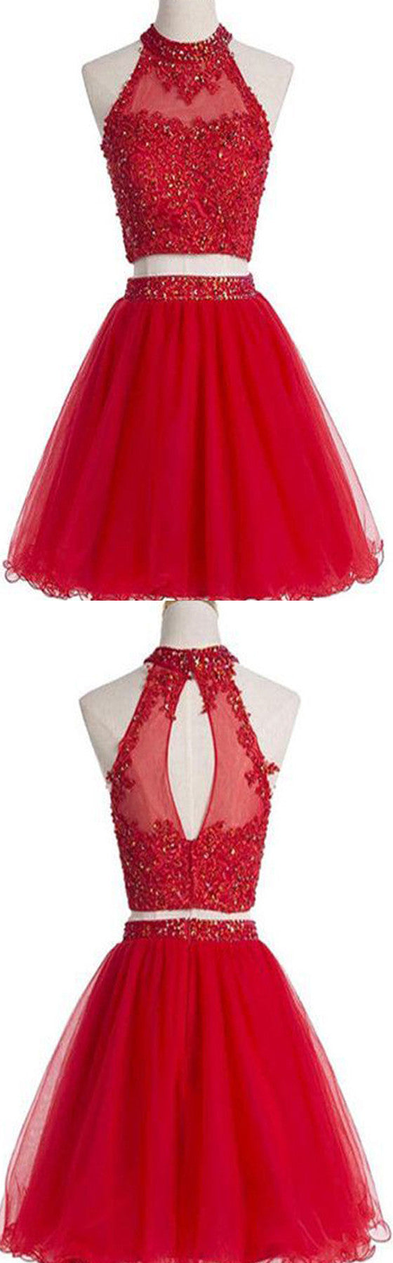 Red Two Pieces Halter Open Back Cute Homecoming Dresses, BG51452