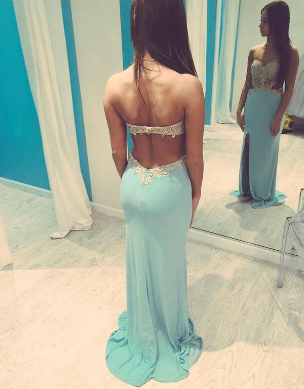 Backless Blue Sexy Mermaid Sweet Heart Long Prom Dresses, BG51150