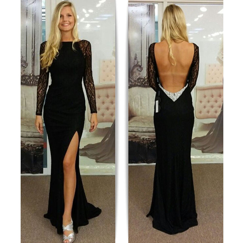 Black Long Sleeve Sexy Backless Mermaid Side Split Long Lace Prom Dress, BG51190
