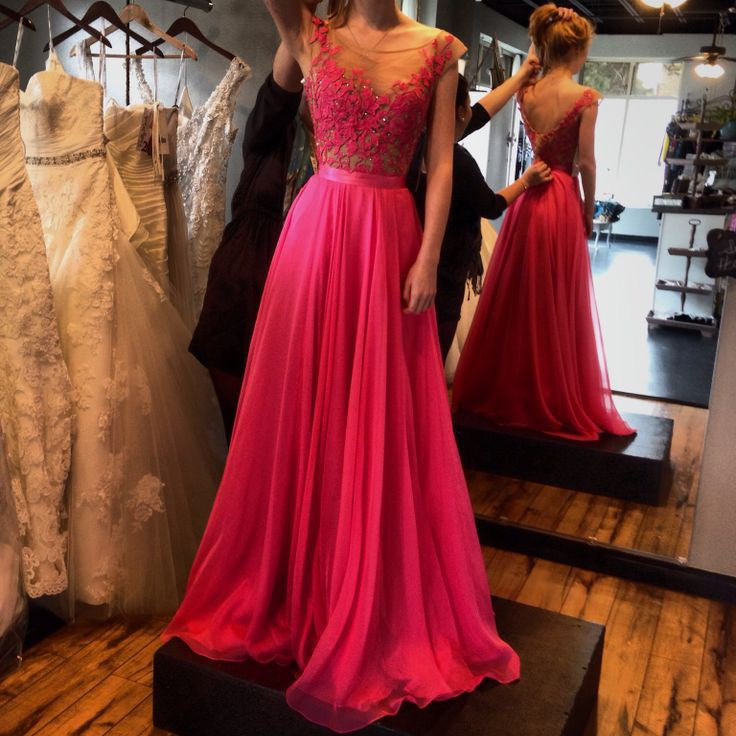 Cap Sleeve A Line Hot Pink Junior Pretty Long Prom Dresses, BG51092 ...
