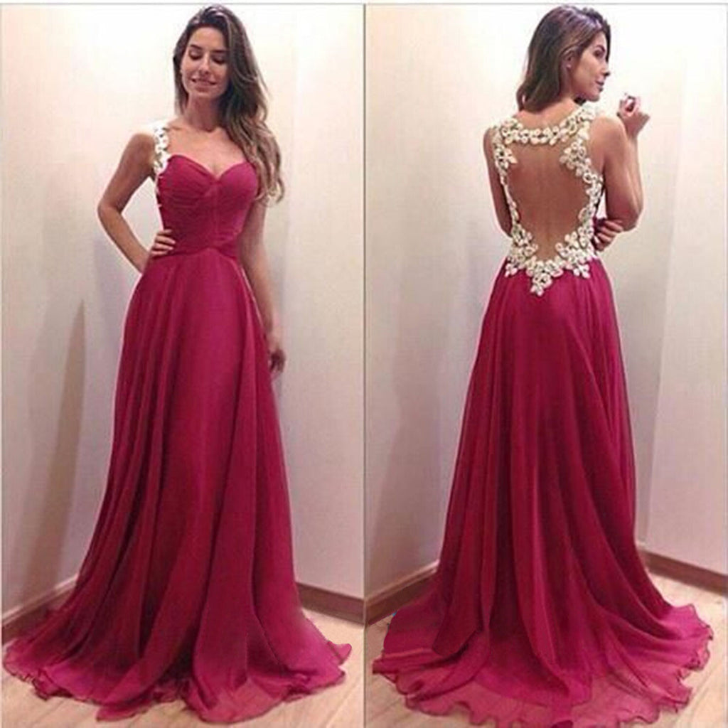 A Line Junior See Through Back Sweet Heart Cheap Long Prom Dresses, BG51095 - Bubble Gown