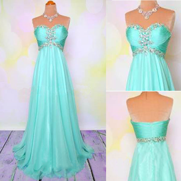 Blue Sweet Heart A Line Cheap Long Prom Dresses, BG51158 - Bubble Gown