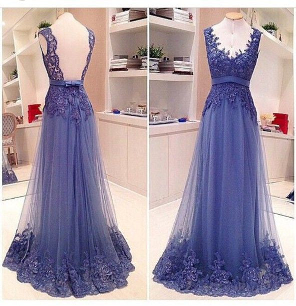 Elegant Affordable V Neck Lace See Through Back Long Prom Dresses, BG51002 - Bubble Gown