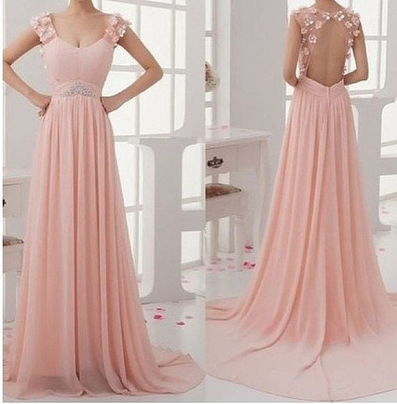Blush Pink Junior Stunning Open Back Chiffon Long Prom Dresses, BG51096