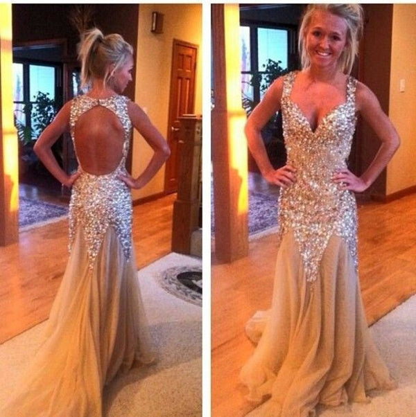 Golden Mermaid Open Back Shinning Evening Party Prom Dresses, BG51034 - Bubble Gown