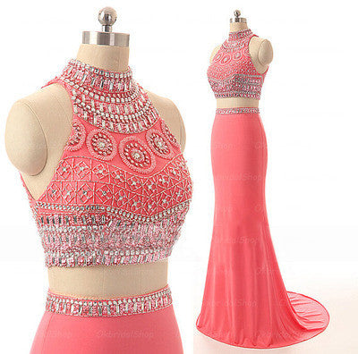 Watermelon Two Pieces Hight Neck Evening Party Long Prom Dresses, BG51212