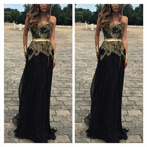 Black Goledn Sweet Heart Cheap Floor Length Prom Dresses, BG51168 - Bubble Gown