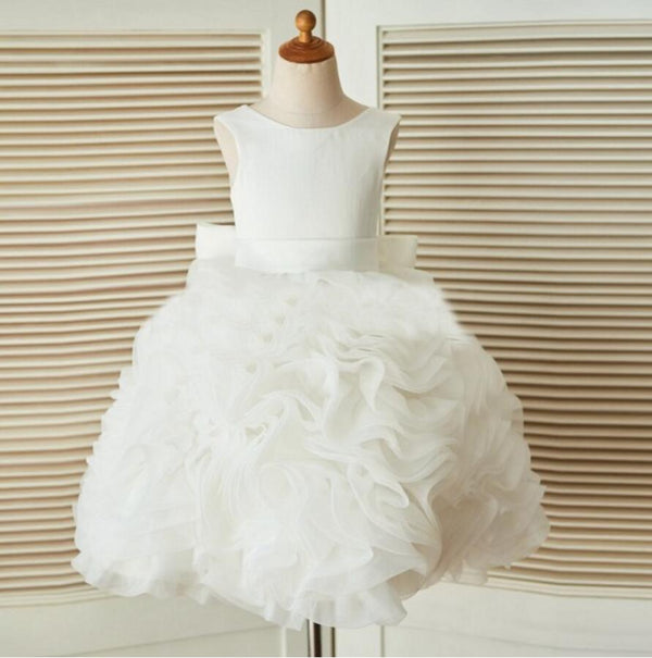 Ivory Online Princess Flower Girl Dresses, Weding Little Girl Dresses with Lace Up Back, FGS023