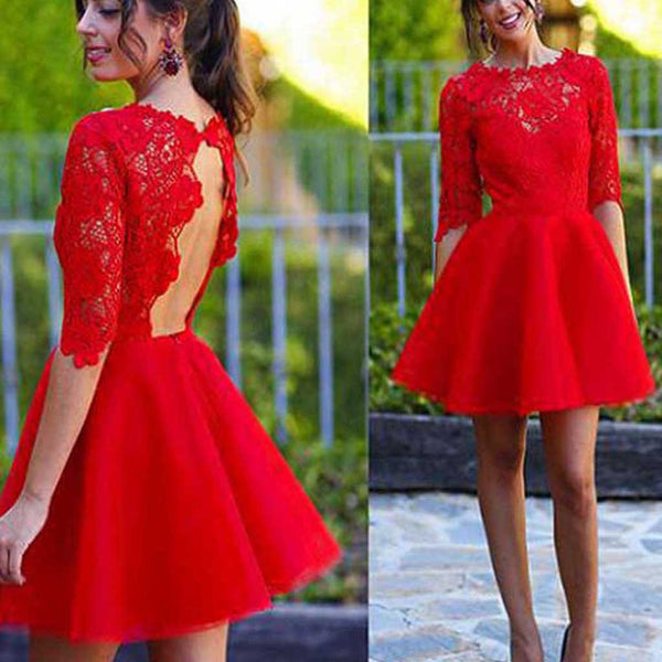 Red Half Sleeve Lace Open Back Homecoming Dresses, BG51448