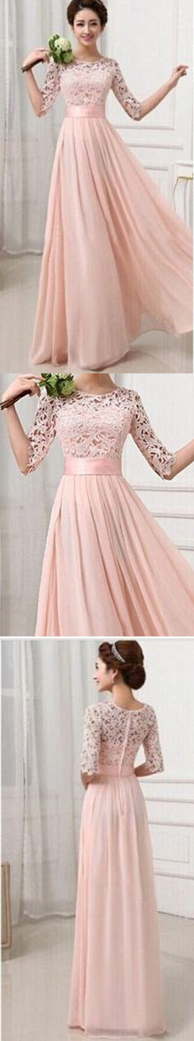 Blush Pink Junior Half Sleeve Top Seen-Through Lace Prom Bridesmaid Dresses, BG51322 - Bubble Gown