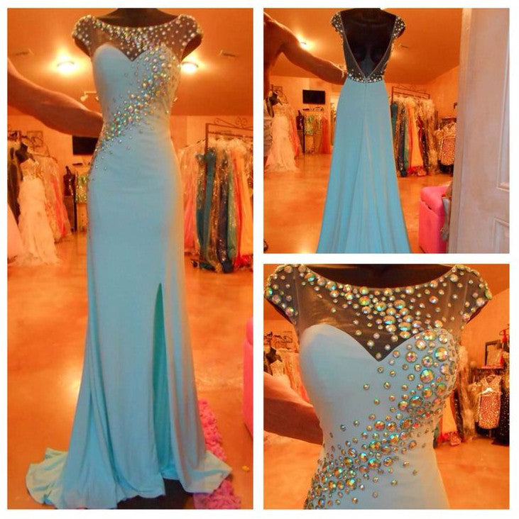 Pretty Cap Sleeve Side Split V Back Blue Long Prom Dresses, BG51176