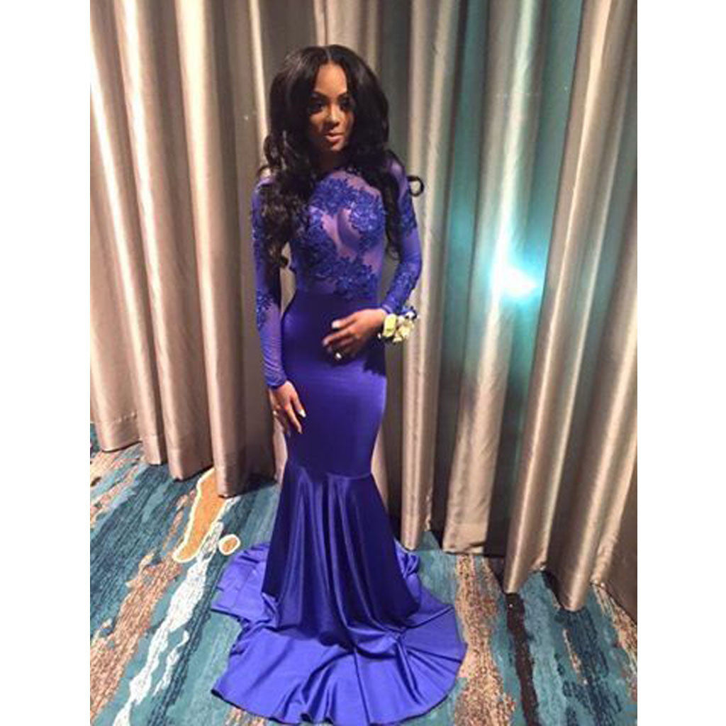 Applique Royal Blue Long Sleeves See Through Mermaid Prom Dresses ...