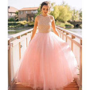 Charming Pink Junior Elegant Fashion Online Long Prom Dresses, BG51017 - Bubble Gown