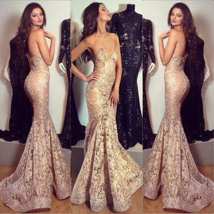 Charming Sexy Sweetheart Mermaid Unique Long Lace Prom Dresses, BG51207 - Bubble Gown